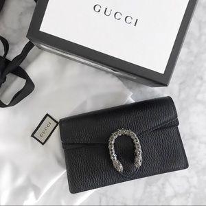 Gucci Black Leather Dionysus Supermini Bag